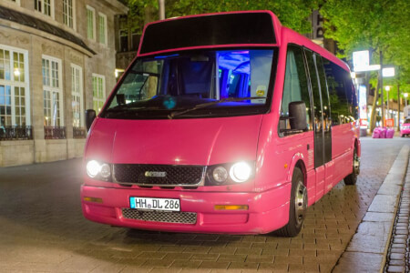 Stag do in Hamburg Pink Party Bus Airport Transfer with Maximise