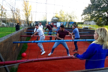 Human Table Football Newcastle for your stag weekend with stag Maximise
